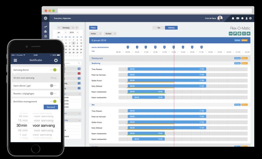 Screenshot Dyflexis urenregistratie mobiele app en desktop