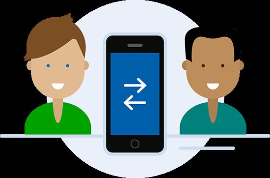 Illustratie Dyflexis diensten ruilen in mobiele app voor Android en iOS