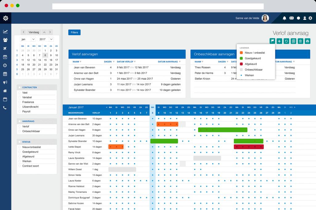 verlof planningsoftware dyflexis screenshot demo